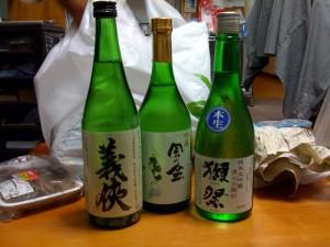 日本酒 義侠 純米吟醸、吟醸 風の盆、純米大吟醸 遠心分離50 獺祭